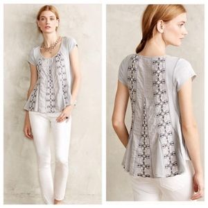 Boho Sweet Unique Grey Embroidered Swing Nota Top